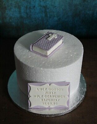 Personalised Edible Any Colour Holy Communion Baptism Bible & Plaque Cake Topper • 14.99£