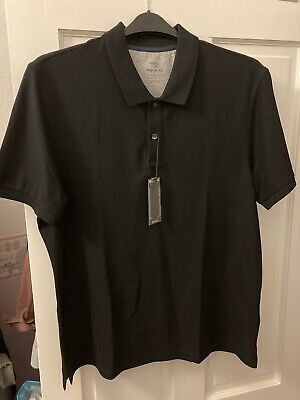 Marks And Spencers Mens Black Cotton Polo Shirt Top Size Small BNWT • 3£