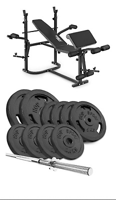 Home Exercise Bench With Prayer Book + SET Of 59 Kg Iron Weights Plates And Bar • 699£