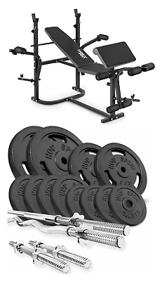 Home Exercise Bench With Prayer Book + SET Of 66 Kg Iron Weights Pates And Bars • 770£