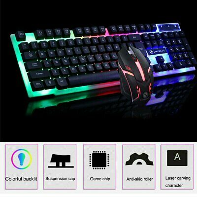 AU24.67 • Buy Rainbow LED Gaming Keyboard And Mouse Set Multi-Colored Changing Backlight Mouse
