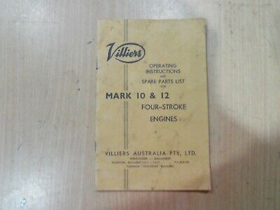 Villiers Mark 10 & Mark 12 Engine Operating Instructions & Spare Parts Book • 13.86£