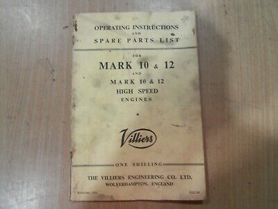 Villiers Mark 10 & Mark 12 Engine Operating Instructions & Spare Parts Book. • 13.86£