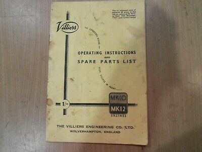 Villiers Mark 10 & Mark 12 Engine Operating Instructions & Spare Parts Book.. • 13.86£