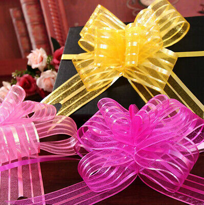 10pcs# Pull Bows Organza Ribbons Wedding Party Flower Decor Present Wrap Pretty • 0.99£