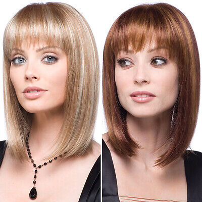£14.09 • Buy Womens Real Natural Hair Wigs Short Straight Bob Style Ladies Ombre Cosplay Wig