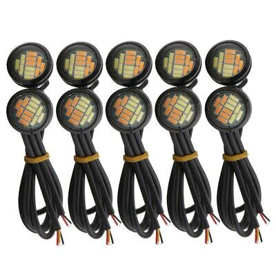 AU11.39 • Buy 10 Pcs 12V 23Mm Dual Color Switchback 4014 Smd 12 Led Drl Eagle Eye Daytime H6W3