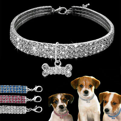 UK Bling Pet Collar Necklace Rhinestone Dog Diamante Pendant For Puppy Chihuahua • 3.69£