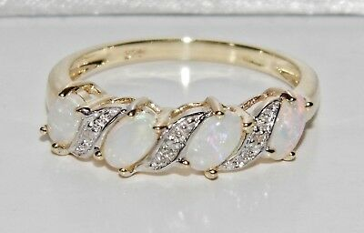 £125 • Buy 9ct Gold Natural Opal & Diamond Ladies Eternity Ring - Size P