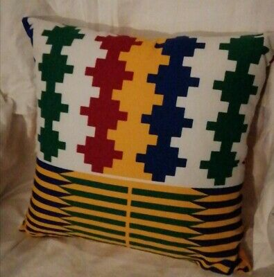 African Kente Mixed Fabric Cushion Cover With Pad • 10£