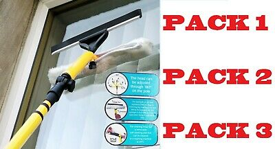 Extendable 3.5M Telescopic Window Squeegee Pole Glass Dust Cleaner Brush Kit New • 15.99£