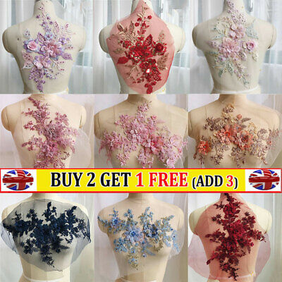 Embroidery 3D Flower Lace Applique Pearl Beaded Tulle Wedding Bride Dress DIY • 4.40£