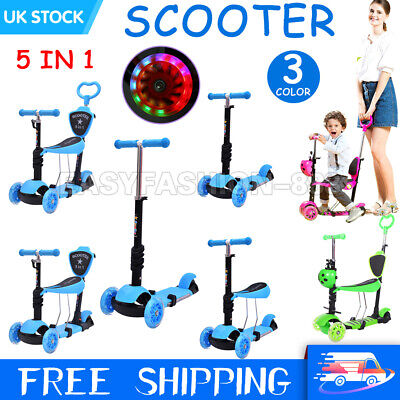 3/5 In 1 Kids Scooter Flashing Wheels Child Toddler Kick Scooters Adjust Seat UK • 22.89£