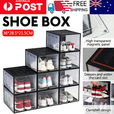 AU15.89 • Buy Sneaker Display Cases Magnetic Shoe Box Storage Stackable Clear Rack Cube 36*28