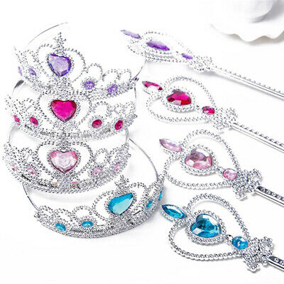 2 Piece Set Gift Frozen Princess Queen Anna Elsa Wand & Tiara Crown Dressing Up • 2.48£