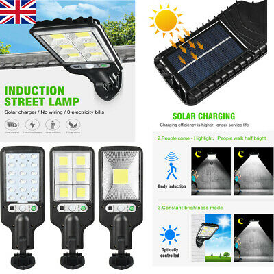 LED Solar Wall Light PIR Motion Sensor Dimmable Lamp Outdoor Garden Street NEW~~ • 9.55£