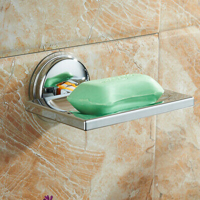 No Drilling ABS Suction Soap Dish Holder Tray Bathroom Shower Chrome Accessories • 6.71£