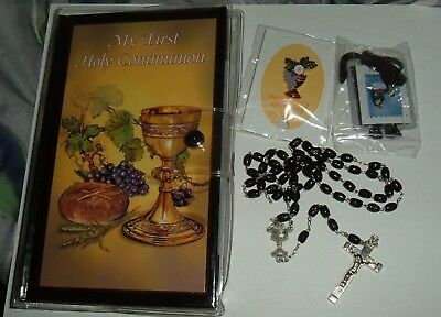 BOYS BLACK FIRST COMMUNION WALLET  GIFT Set BOOK PIN ROSARY SCAPULAR  • 10.44£