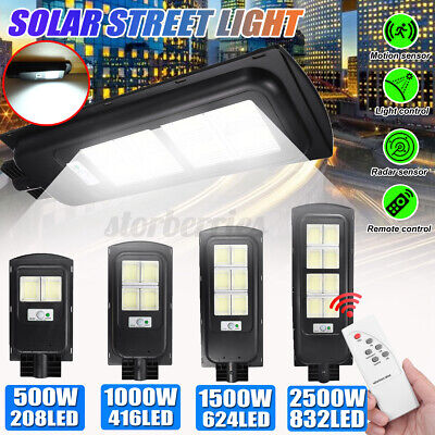 1500W/2500W Solar Street Light PIR Motion Sensor Outdoor Wall Lamp + Remote  • 36.99£
