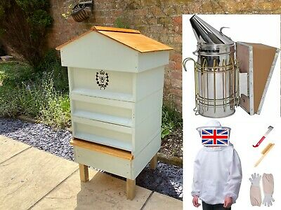 British National Bee Hive With Gabled Roof & Beginners Kit Inc Suit Smoker Tools • 249.99£