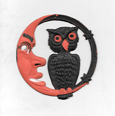$ CDN254.34 • Buy Vintage Halloween Germany Die Cut Decoration Owl & Moon