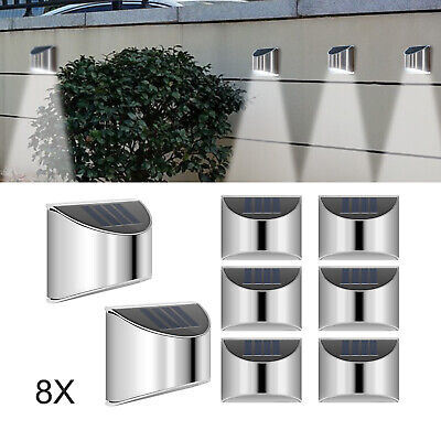 8 X LED Solar Power Garden Fence Lights Wall Light Patio Outdoor Security Lamps • 20.39£