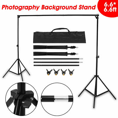 Photography Stand Background Studio Screen Support Adjustable Height + 4 Clamps • 24.59£