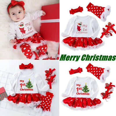 Newborn Baby Girl My 1st Christmas Romper Dress Outfits Xmas Costume Clothes Set • 12.99£
