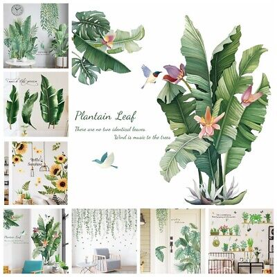 Tropical Foliage Leaves Green Plant Wall Stickers Vinyl Decal Home Art Decor UK • 5.88£