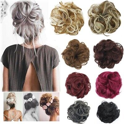 £4.98 • Buy Natural Curly Messy Bun Hair Piece Scrunchie Fake Updo Clip In Hair Extensions
