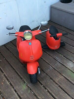 Kids Red Scooter Sidecar  Electric Ride-On Children Toy 12v Battery Powered Bike • 45£