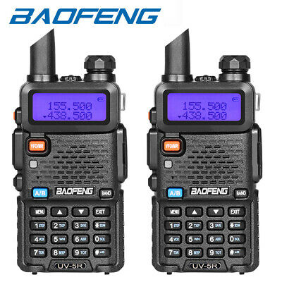 2 X BAOFENG UV-5R LCD Display Dual-Band 2-Way FM Radio VHF/UHF Walkie Talkies UK • 35.99£