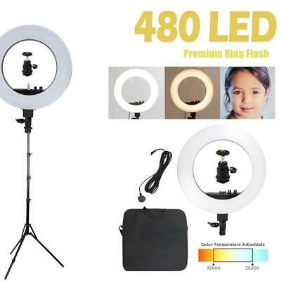LED Video Photo Ring Light Lighting Kit 18inch Outer Dimmable + Light Stand UK • 49.95£