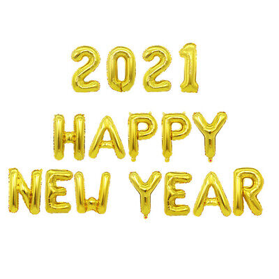 2021 Happy New Year Gold Silver Foil Balloons Set Christmas Eve Party Decor Xmas • 2.88£