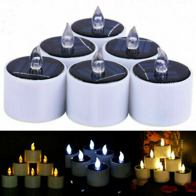 Solar Powered LED Candles Flameless Electronic Waterproof Tea Lights Lamp • 4.99£