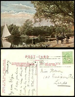 Northern Ireland Old Postcard The Six Mile Water Antrim, Sailing Boat Horse Cart • 9.99£