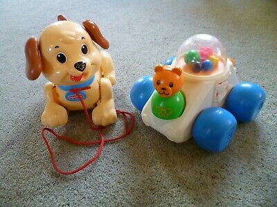 Vintage 1987 Fisher Price #1011 Car Poppity Pop And Lil Snoopy Pull Along Dog • 9.99£