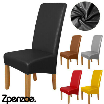 £8.49 • Buy PU Leather Dining Chair Covers Wedding Slipcovers 1-6pcs Waterproof Seat Protect
