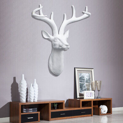 £26.99 • Buy XL Wall Mounted Stag Deer Head White Color Handmade Resin Antlers 3D Wall Decor