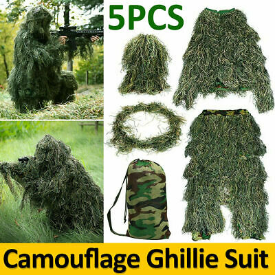 Adults Ghillie Burlap Suit 3D Woodland Camouflage Clothes Forest Hunting Sniper • 28.99£