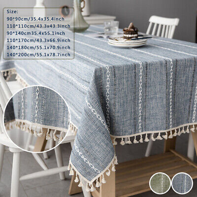 UK Cotton Linen Rectangle Tablecloth Striped Tassel Table Cloth Home Dust Cover • 7.88£