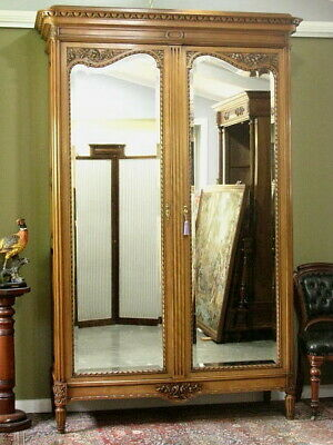 AU1850 • Buy ANTIQUE FRENCH WALNUT 2 DOOR MIRRORED WARDROBE ARMOIRE STORAGE CABINET   C1920s