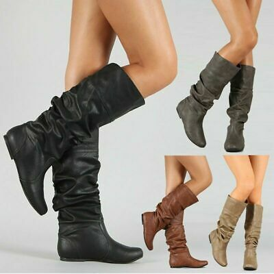 Women's Mid Calf Boots Low Heel Boots Long Slouch Pull On Flat Knee Ladies Shoes • 15.49£