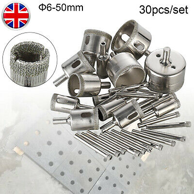 30pcs Diamond Cutter Coated Core Hole Saw Set Holes Saw Drill Bit Tile FOR Glass • 10.99£
