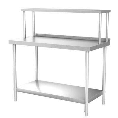 Commercial Prep Catering Table Work Bench Over Shelf Set Food Top StainlessSteel • 169.95£