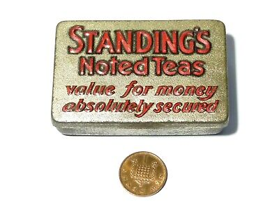Standing's Noted Teas SAMPLE Size Advertising VESTA Tin Match Safe  • 59£