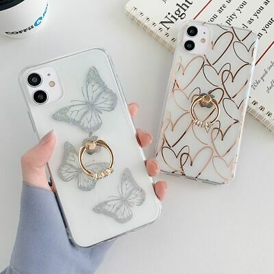 AU20.65 • Buy Glossy IPhone Case With Diamond Finger Ring Phone Stand Anti Fall Back Cover