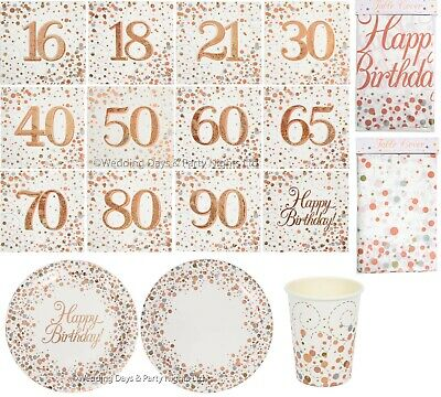 £3.79 • Buy Sparkly Rose Gold White Napkins Serviettes Plates Tablecloth Cups Birthday Party