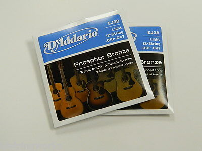 $ CDN18.15 • Buy EJ38 D'Addario 12 String GUITAR STRINGS Light 2 SETS ~Free Shipping To U.S.A.~