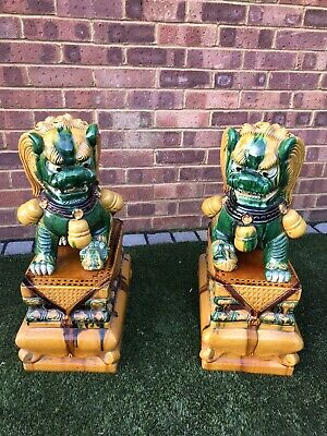 A STUNNING PAIR OF LARGE VINTAGE CHINESE FOO / TEMPLE DOGS ON PLINTHS 2ft TALL • 650£